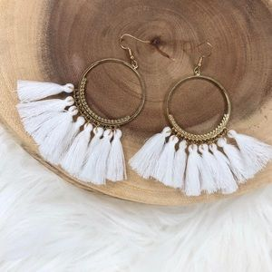 White Boho Style Big Circle Drop Tassel Earrings